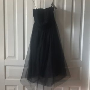 Black strapless tulle party dress